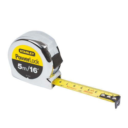 5m Stanley Measuring Tape - Stanley Powerlock Available at GZ Industrial Supplies
