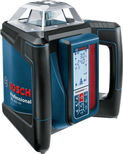 "Buy  Bosch GRL 500 HV + LR 50 Professional Rotation laser online at GZ Industrial Supplies.  The most important data  Here you will find the most important technical data for your professional Bosch tool at a glance! Laser diode 	635 nm, < 1 mW Operating temperature 	-10 – 50 °C Storage temperature 	-20 – 70 °C Laser class 	2 Working range with laser receiver 	500 m (Diameter) Working range without receiver 	20 m (Diameter) Accuracy 	± 0.05 mm/m horizontal, ± 0.1 mm/m vertical Self-levelling range 	± 5,7° (10%) Levelling time 	15 s Dust and splash protection 	IP 56 Rotation speed 	600 rpm Beam diameter 	5 mm Power supply 	4 x 7.4-V-Li-Ion Operating time (max.) 	25 h Tripod thread 	2 x 5/8"" Weight, approx. 	2,3 kg Length 	234 mm Width 	217 mm Height 	194 mm Colour of laser line 	red Projection 	1 x 360° line"