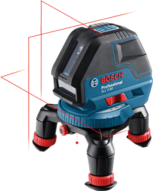 "Buy Bosch GLL 3- 50 P Professional line laser online at GZ Industrial Supplies Nigeria  The most important data  Here you will find the most important technical data for your professional Bosch tool at a glance! Laser diode 	635 nm, < 1 mW Operating temperature 	-10 – 40 °C Storage temperature 	-20 – 70 °C Laser class 	2 Working range 	10 m Working range with laser receiver 	50 m Working range without receiver 	10 m Accuracy 	± 0.3 mm/m Working range of laser points, max. 	5 m (bottom) Self-levelling range 	± 4° Levelling time 	4 s Dust and splash protection 	IP 54 Power supply 	4 x 1.5 V LR6 (AA) Operating time (max.) 	18 h in 1-line mode Tripod thread 	1/4"", 5/8"" Weight, approx. 	0,9 kg Length 	146 mm Width 	83 mm Height 	117 mm Projection 	3 lines Plumb point accuracy 	± 0.6 mm/m"