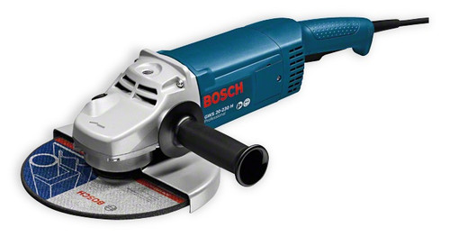 "Bosch 9"" Angle grinder  GWS 20-230 H Professional angle grinder large angle grindersThe compact and lightweight tool Powerful 2000 watt motor With a weight of just 5.1 kg, light and compact for optimum handling Armoured coils that protect the motor against sharp grinding dust ensure long lifetime Bosch SDS quick-locking nut available as an accessory Individual barcode for easy tool identification"