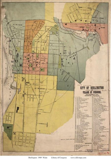 Burlington 1909 Waite - Old Map Reprint - Vermont Towns Other (Rsch)