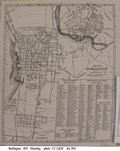 Burlington 1931 Manning - Old Map Reprint - Vermont Towns Other (Rsch)