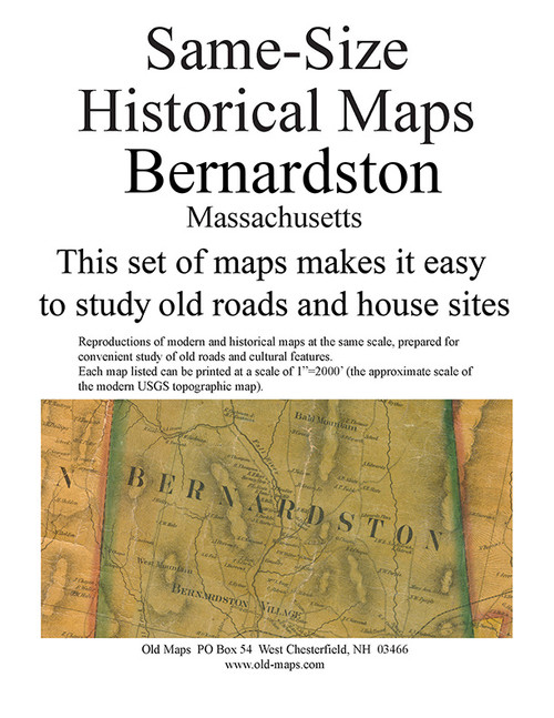 Set of 18 same size Historical Maps - Bernardston MA Old Map
