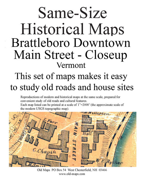 Set of 10 same size Historical Maps - Brattleboro VT Downtown - 3 Main St. Closeup - Old Map