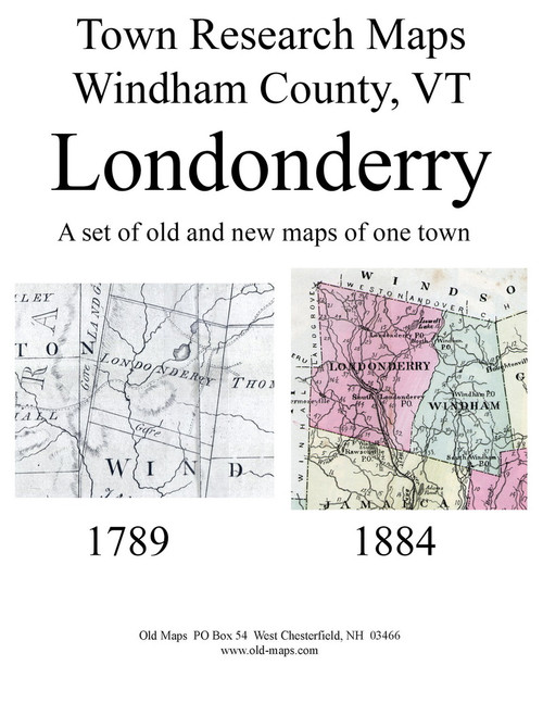 Set of 13 Historical and Modern Maps - Londonderry VT Old Map