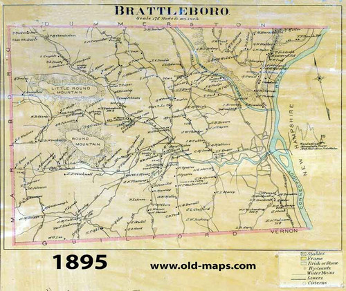 Set of 27 Historical and Modern Maps Brattleboro VT Old Map Old