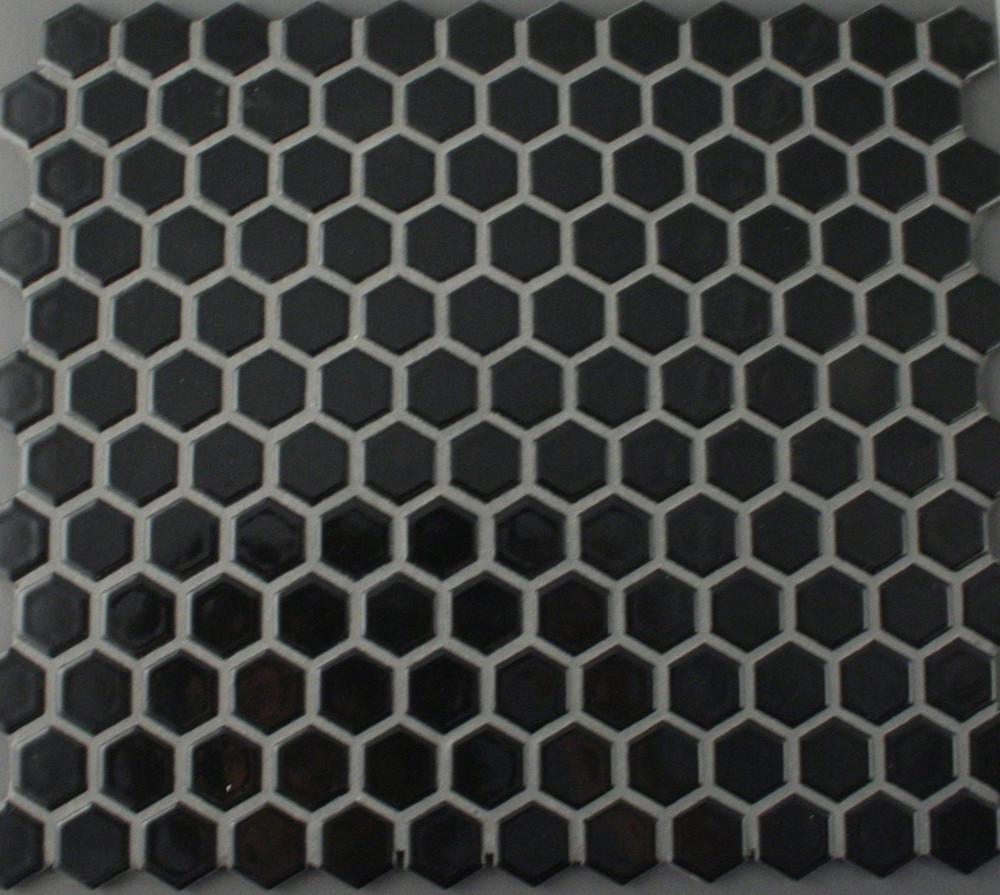 Black Gloss Hexagonal Mosaic 23mm