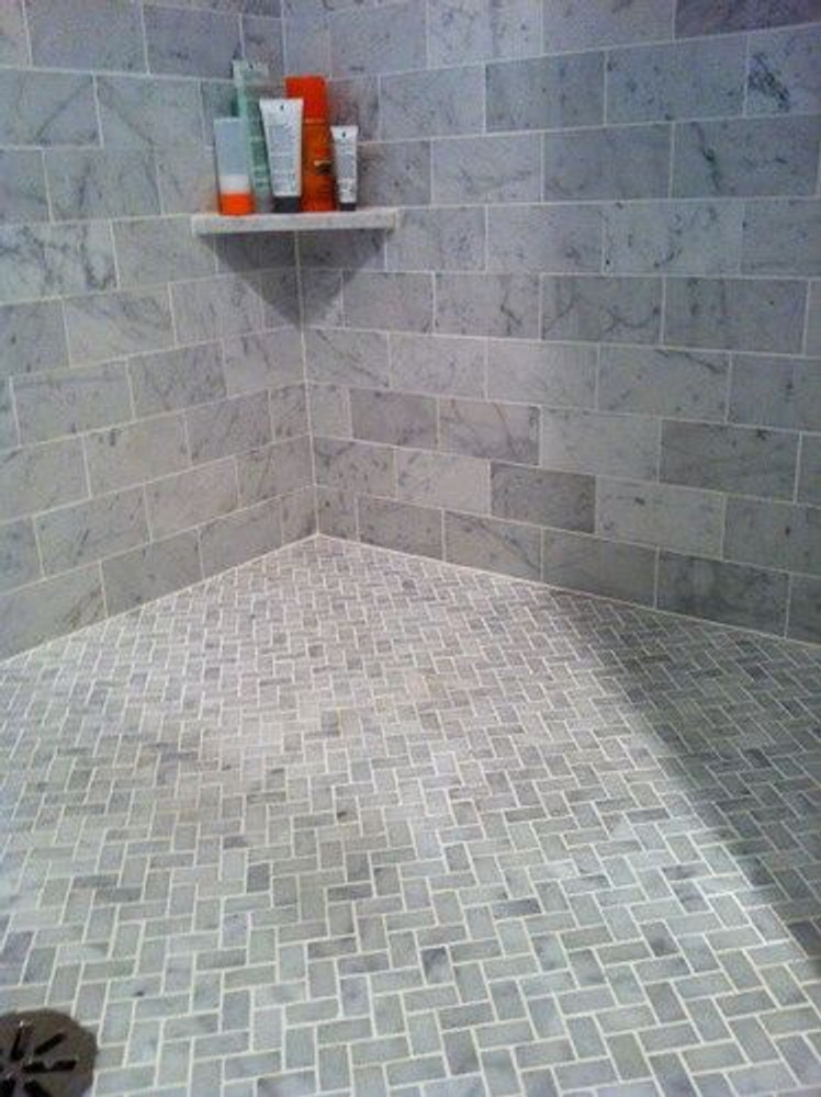 Carrara Marble Herringbone Mosaic 48x23mm -