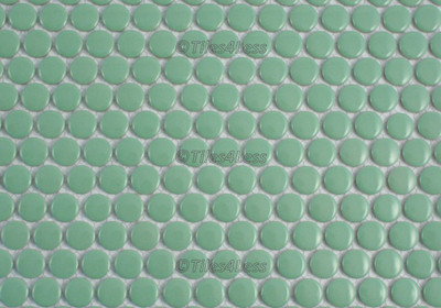 Green Gloss Porcelain Penny Round Mosaic tile