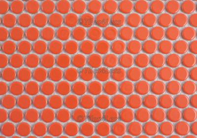 Orange Gloss Porcelain Penny Round Mosaic tile