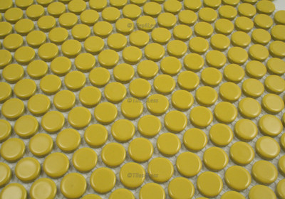 Yellow Gloss Porcelain Penny Round Mosaic tile