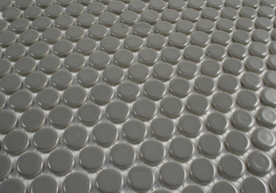 Dark Grey Gloss Porcelain Penny Round Mosaic tile