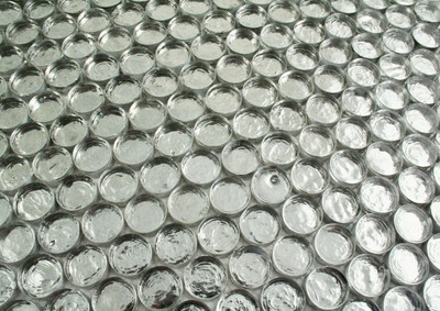 Glass Penny Round Mosaic Tile in Silver