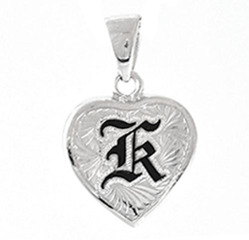 Hawaiian pendants royal hawaiian heritage jewelry sterling silver hawaiian pendant heart initial 16mm aloadofball Image collections