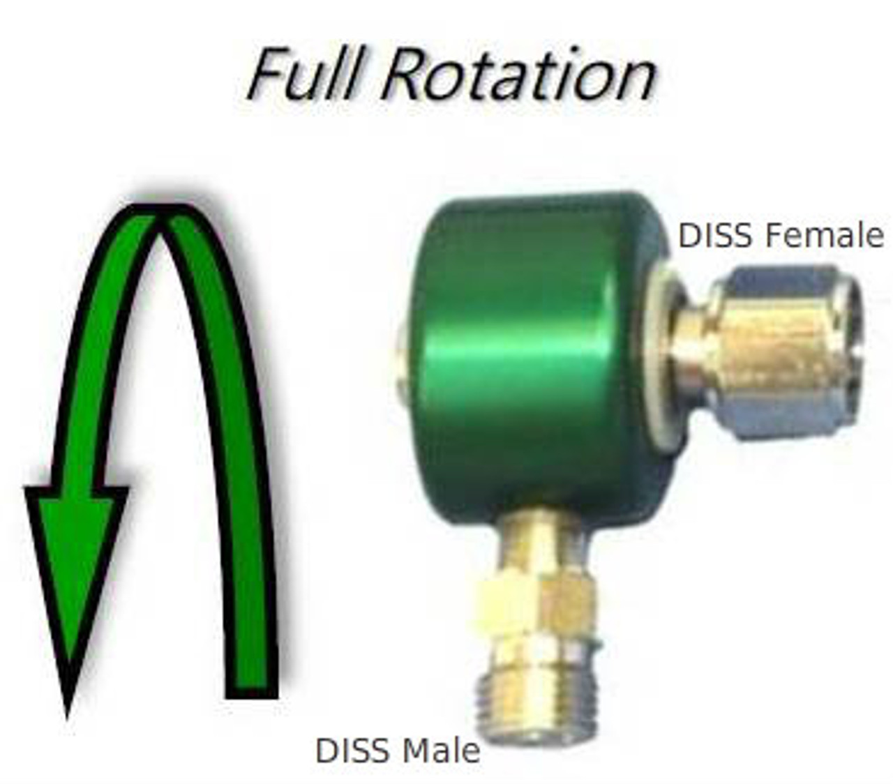 90 Degree Swivel Adapter with DISS fittings