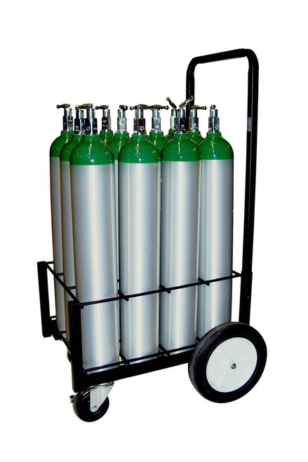12 Pc Oxygen Cylinder Cart with Large Rear Wheels