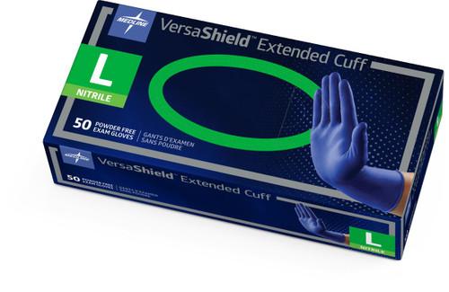 VersaShield EC (Extended Cuff) Blue Nitrile Gloves by Medline - 50 per Bx