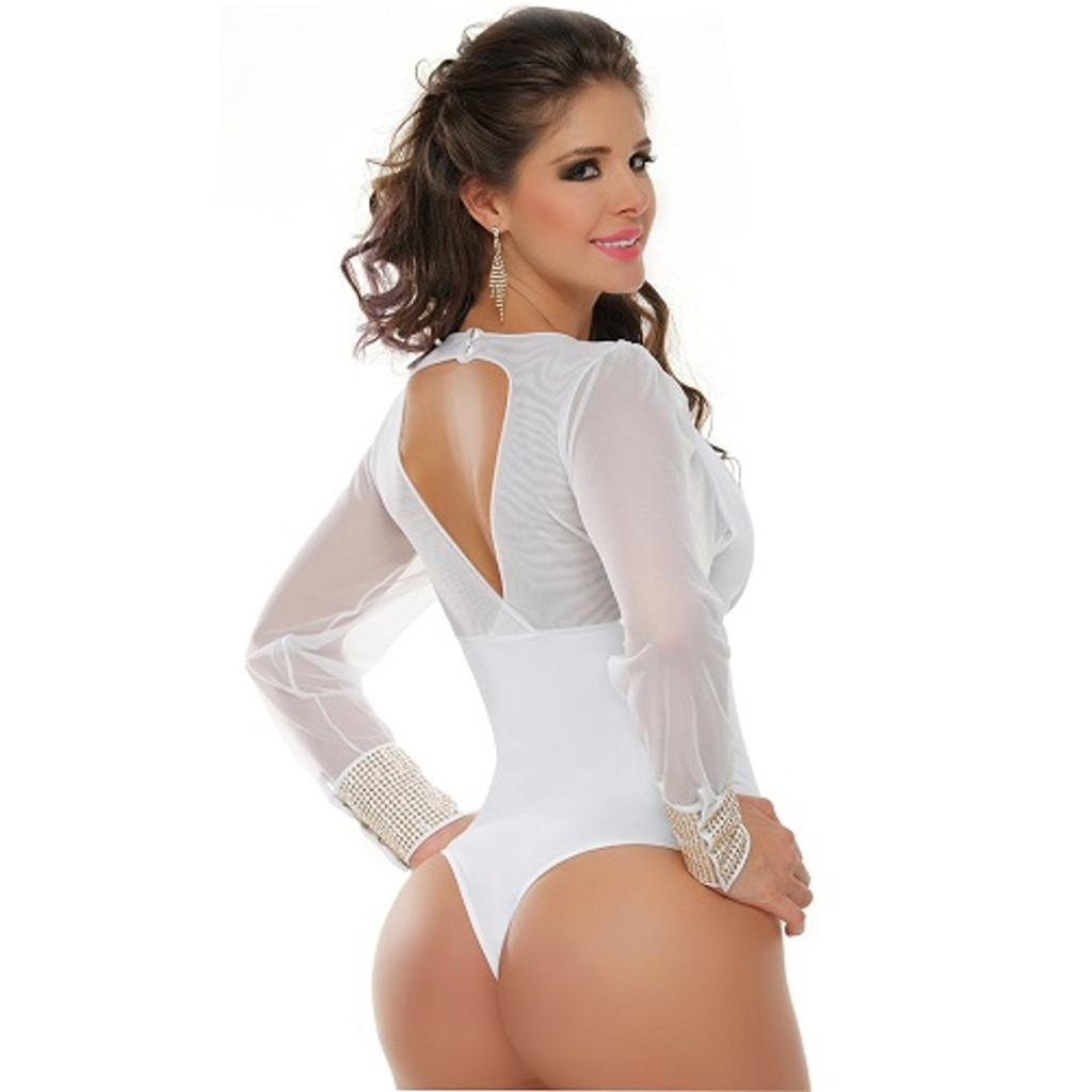 Colombian Body Blouse Shaper with Tummy Control Powernet White/Silver