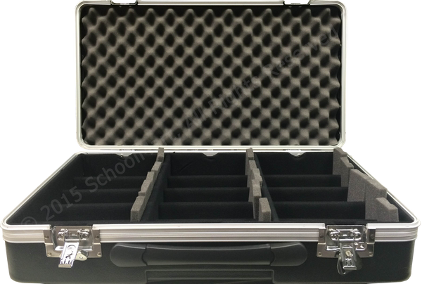 Hard Case Storage for 30 Graphing Calculators with Hard Lined Numbered Slots, Wheels and Handle