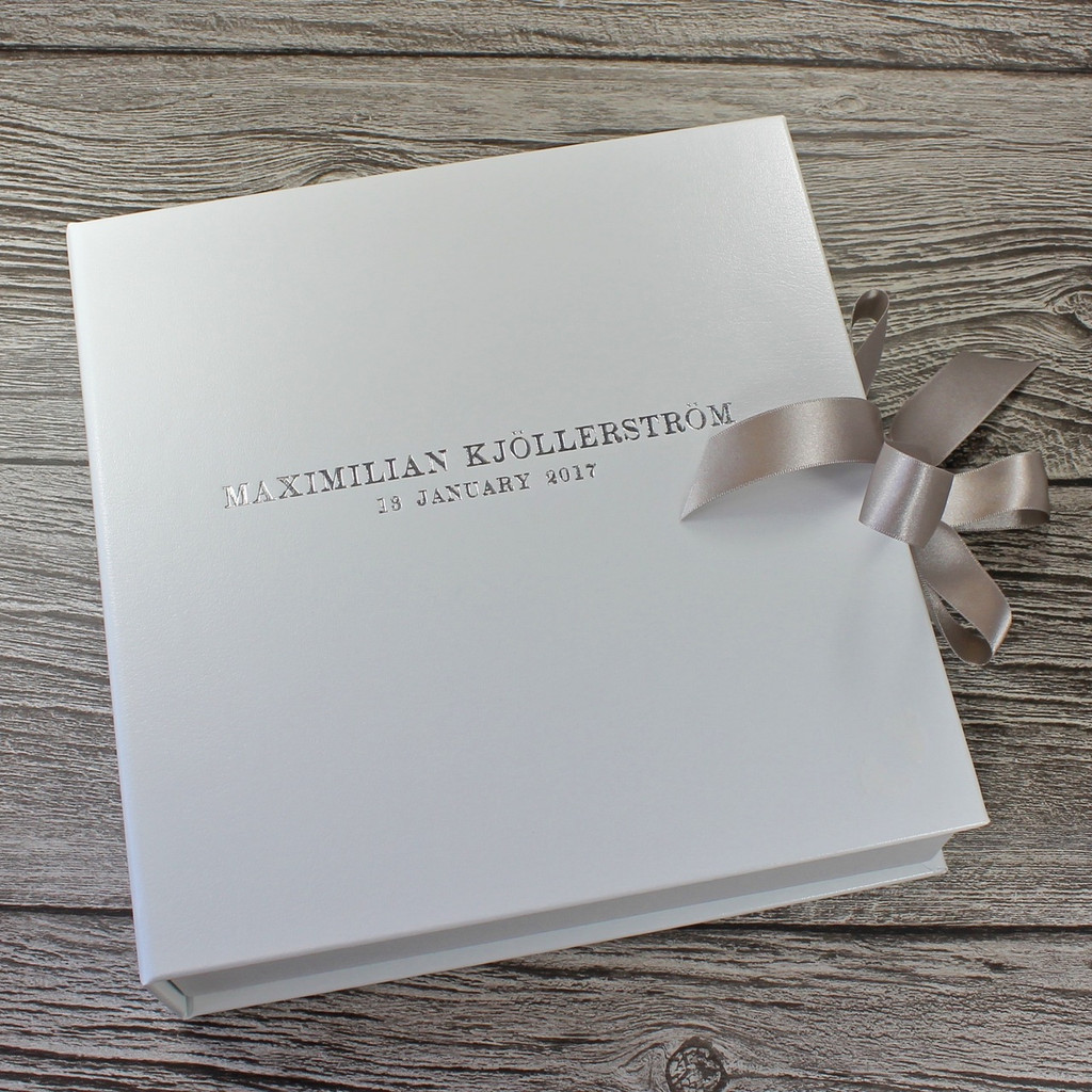 Baby Keepsake Memory Box - White Leather With Silver Ribbon Tie