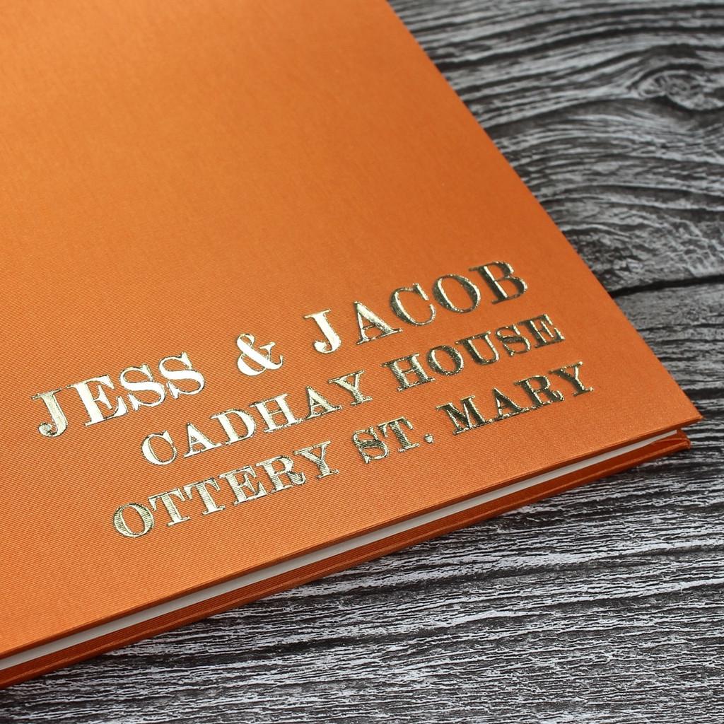 Wedding Guest Book In Tangerine Orange Satin - A5 or A4 Landscape