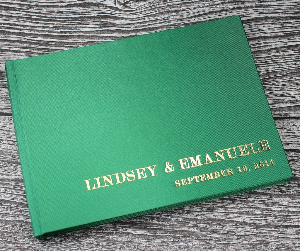Wedding Guest Book In Bright Green Satin - A5 or A4 Landscape