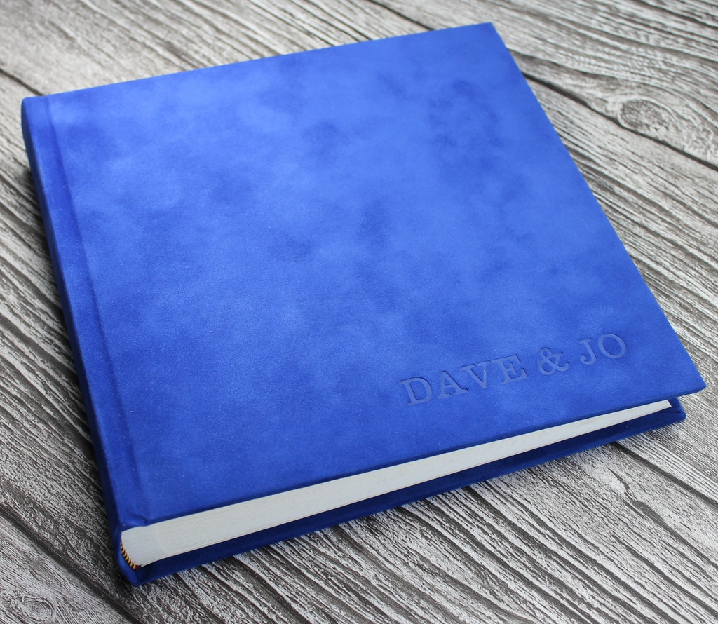 Contemporary Pacific Blue Velvety Suede Look Photo Album