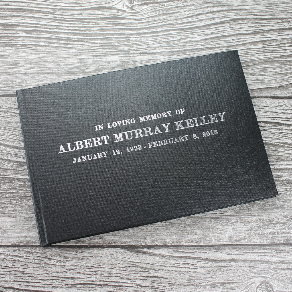 Personalised Funeral Guest Book / Remembrance / Condolence Book - Black Buckram Cloth