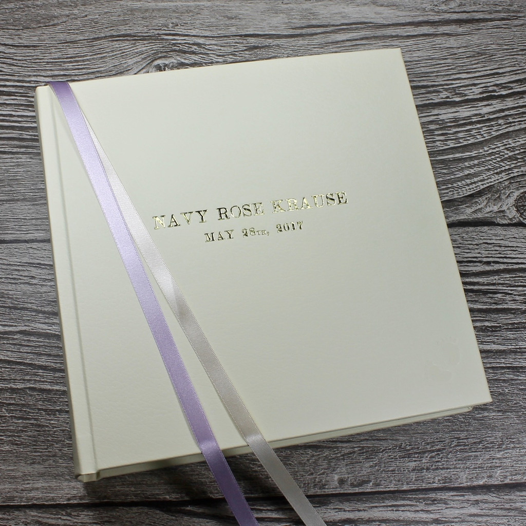 Baby Girl Memory Record Book - Ivory Leather Lilac & Ivory Ribbon Page Marker
