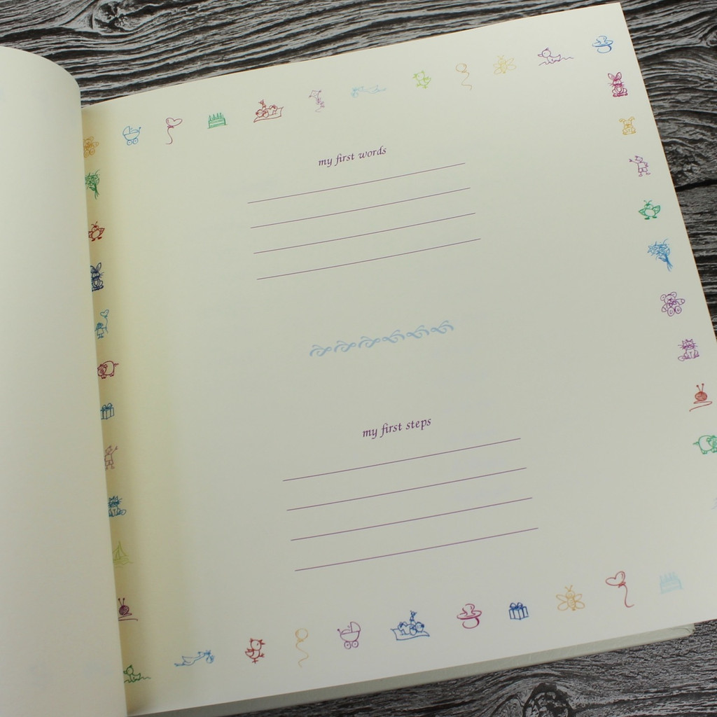 Baby Girl Memory Record Book - Ivory Leather Pink & Ivory Ribbon Page Marker