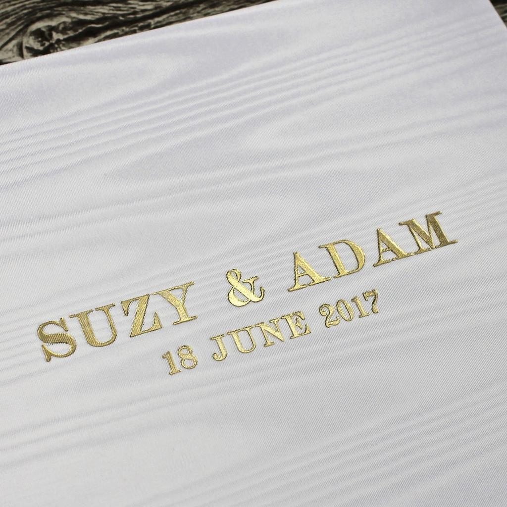 White Satin Taffeta Album With Moiré Design