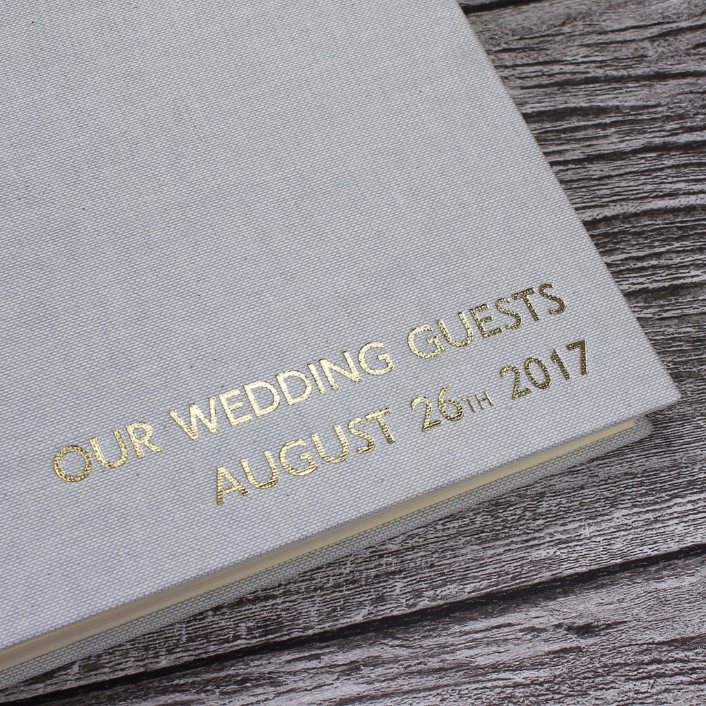 Wedding Guest Book In Misty Blue Linen - A5 or A4 Landscape