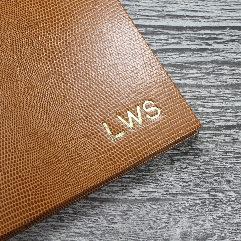 Personalised Address Book  - Tan Lizard Effect Finish
