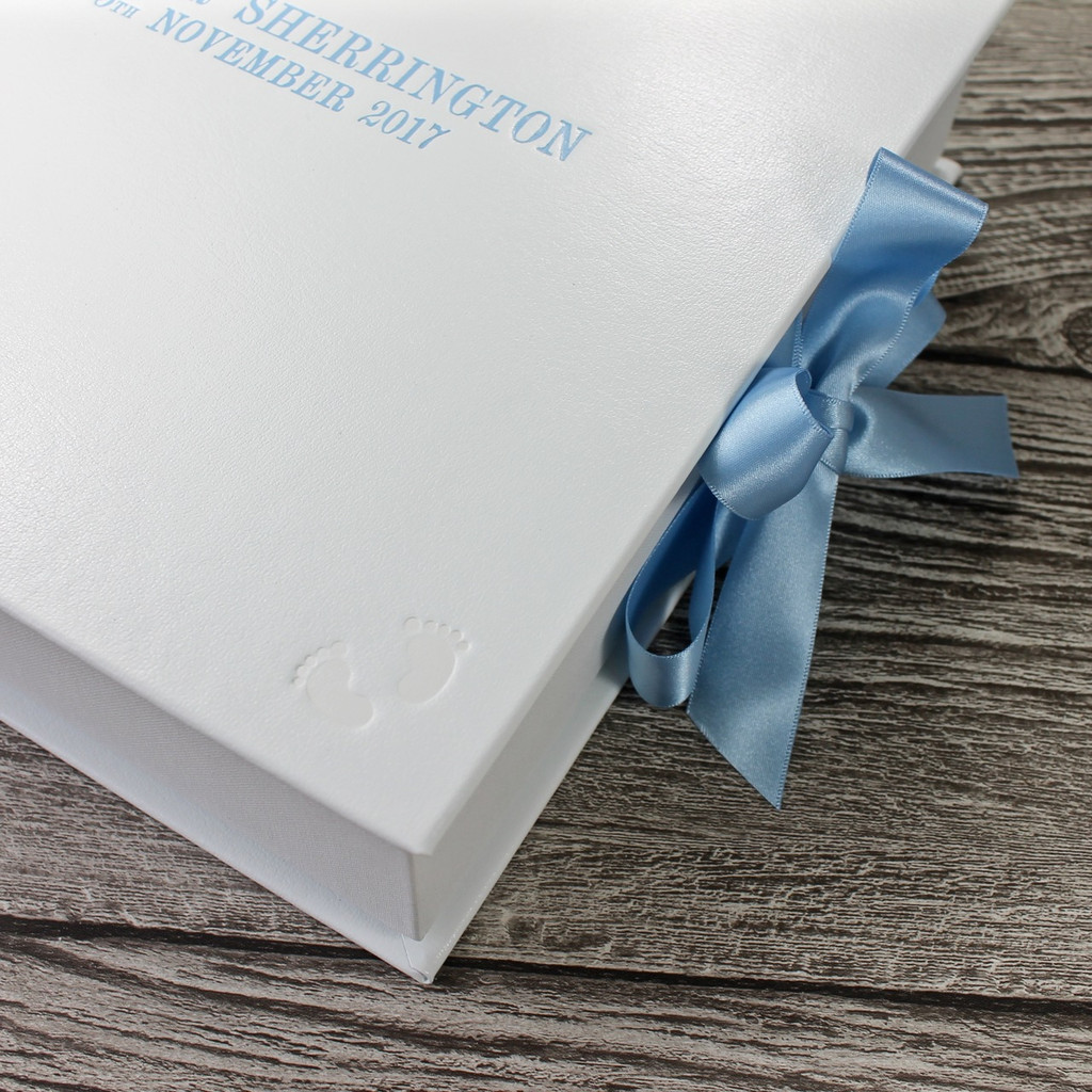 White Leather Baby Boy Keepsake Memory Box - Blue Ribbon Tie