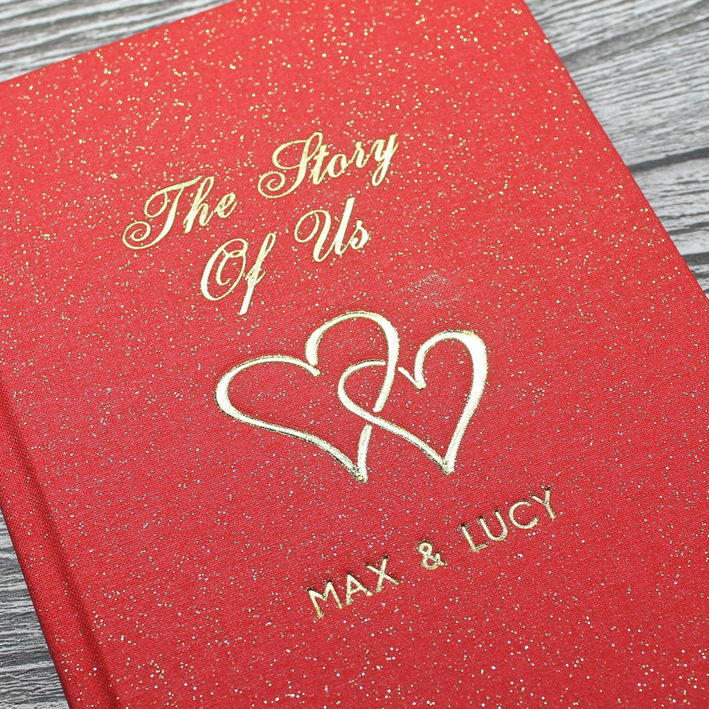 Personalised 'Love Journal' - Red sparkle cloth - A5 Portrait