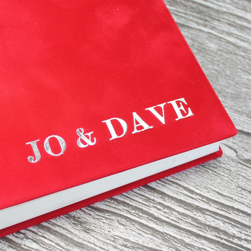 Contemporary Red Velvety Suede Look Cloth Photo Album