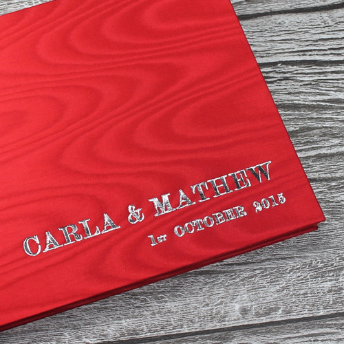Wedding Guest Book In Red Satin Taffeta With Moiré Design - A5 or A4 Landscape
