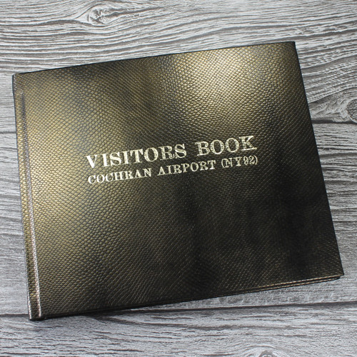 Visitor Guest Book- Antique Gold Mamba Effect Leather
