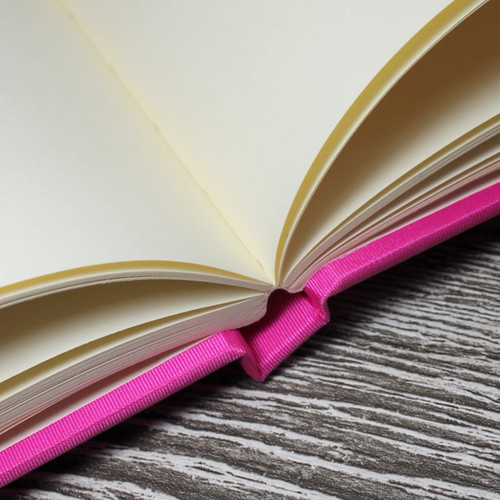 Wedding Guest Book In Hot Pink Satin - A5 or A4 Landscape