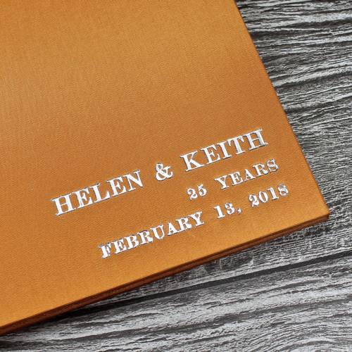 Wedding Guest Book In Burnt Orange Satin - A5 or A4 Landscape