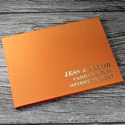 Wedding Guest Book In Tangerine Orange Satin - A5 or A4 Landscape