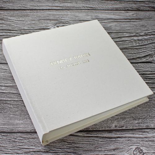 Contemporary Ivory Linen Photo Album