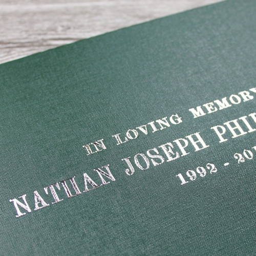 Personalised Funeral Guest Book / Remembrance / Condolence Book - Dark Green Buckram Cloth