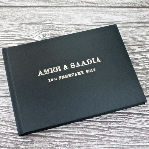 Wedding Guest Book In Black Satin - A5 or A4 Landscape