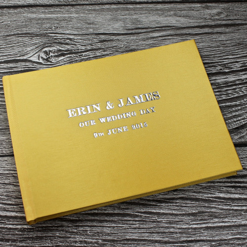 Wedding Guest Book In Yellow Satin - A5 or A4 Landscape