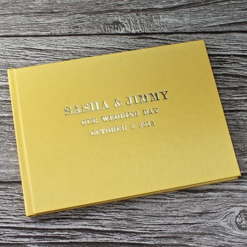 Yellow Satin Wedding Guest Book