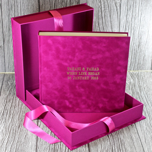 Fuchsia Pink Velvety Suede Look Cloth Clamshell Box (Box Only)