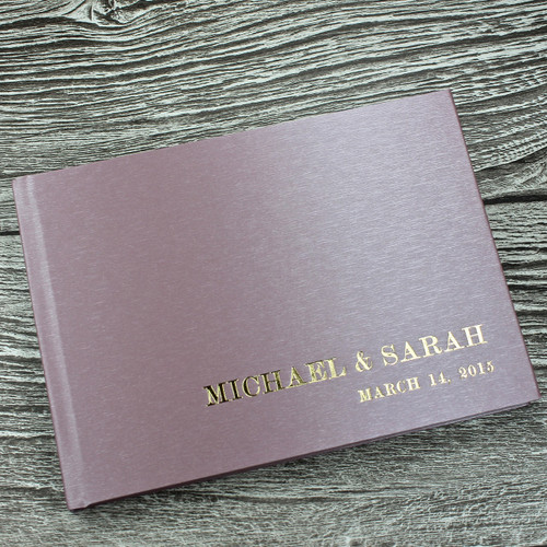 Wedding Guest Book in Dusky Lilac Japanese Silk Effect Material - A5 or A4 Landscape