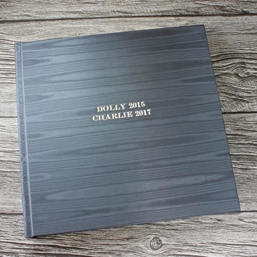 Silver Grey Satin Taffeta Album With Moiré Design