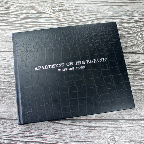 Visitor Guest Book - Black Caiman Effect Leather